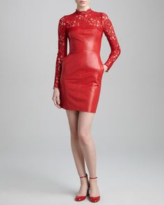 Lace-Yoke Leather Dress, Rosso by Valentino at Neiman Marcus.