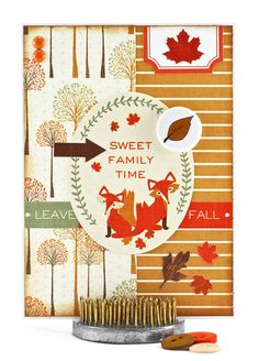 Fall Card - Autumn Card - Fox Card - Thanksgiving Card - Family Sayings - Family Quotes - Happy Thanksgiving - Fox Items - Handmade Card - pinned by pin4etsy.com