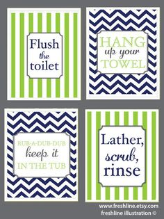 Kids Bathroom, Cute Sayings, Flush the toilet, Hang up your towel, Bathtub Saying, Four 8x10 Prints