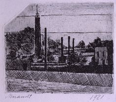 Giorgio Morandi, Landscape, The Chimneys of the Arsenale on the Outskirts of Bologna