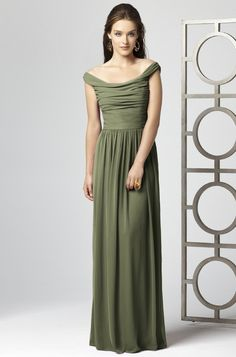 Olive green bridesmaid dress. Perfect style, but needs to be in sage green satin.