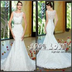 Find More Wedding Dresses Information about Free Shipping Mermaid Handwork Lace Appliques Crystal Ebay Wedding Dresses,High Quality wedding dress sample size,China dress wedding girl Suppliers, Cheap dress wedding shoes from 100% Love Wedding Dress & Evening Dress Factory on Aliexpress.com
