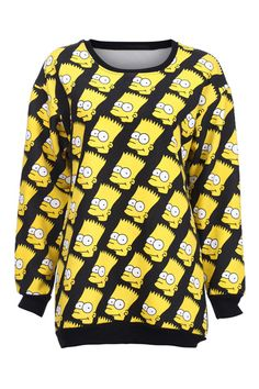 similar to JC's - Cartoon People Head-portraits Print Yellow Pullover