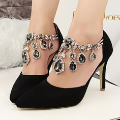 a9ec74354 Pointed Toe Style Buckle Rhinestone Black Women Shoes