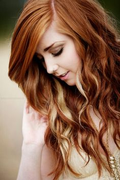 Natural Red Hair w/ Blonde Peek-a-Boo Highlights I love this but would probably go with a dark blonde instead for a fall look