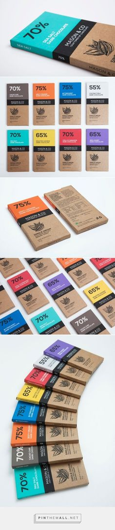 Love love! Black brown and bold colour! Flat colours blocks and detailed illustration! Yes! (Mason & Co Chocolate Bars)