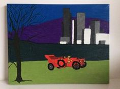 "Saatchi Art Artist Grace Douglas; Painting, ""A red car"" #art"