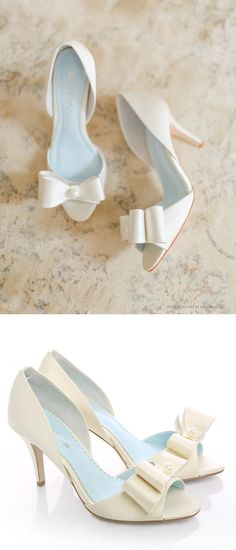 Pearl and Bows Ivory Wedding Shoes #weddingshoes #bridalshoes #weddingideas #shoes ❤️ http://www.deerpearlflowers.com/bella-belle-wedding-heels-youll-love/