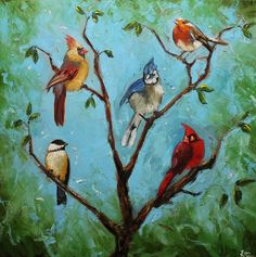 Birds 37 20x20 inch Print from oil painting by Roz por RozArt