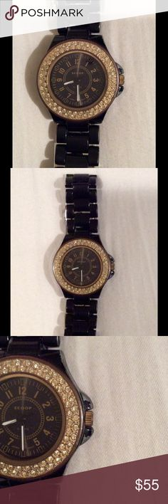 Scoop NYC Black Gold-Tone Rhinestone Face Watch Black-tone with gold-tone rhinestone embellishment around the face.  There is chipping and wear along the sides and back (see photos). Scoop NYC Accessories Watches
