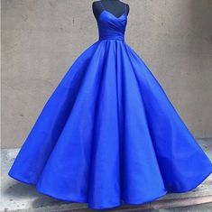 Simple Spaghetti Straps Royal Blue Prom Dress,Ball Gown Royal Blue Graduation Dress