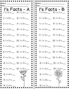 Fact Fluency Timed Tests: Addition and Subtraction Growing Fact Fluency: Practice and Timed Test for Math Resources, Math Activities, Math Fact Fluency, Fluency Practice, Math Addition, Addition Facts, Daily Math, Math School, Math Intervention