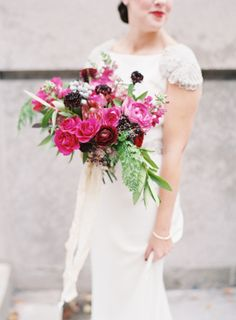 I could go on and on about the design of this day. The rich, jewel-tone color palette. The beautiful Chicagosetting. TheRosa Claradress with an Old Hollywood vibe. But what really, really gets me? The love story behind it all. I'm
