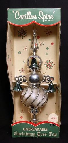 Vintage Carillon Spire Christmas Tree Top Topper Silver Light Blue Unbreakable Z