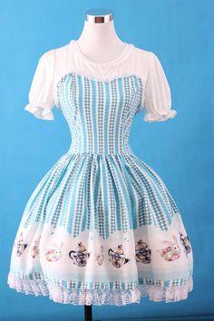Lolita Sweet Blue Fairy Tale Printed Dress
