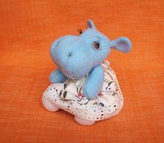 Sooo cute!!! Amy OOAK Artist Blue Teddy Hippo Stuffed Hippo by FluffyFuzzy, $40.00