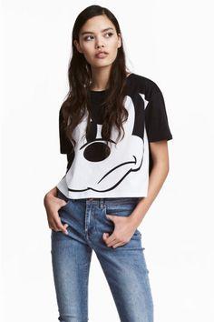 Camiseta corta - Blanco/Mickey Mouse - MUJER | H&M ES 1