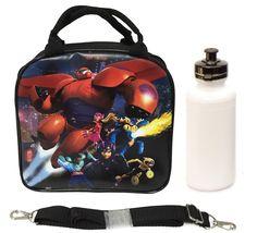 New Disney Big Hero Six 6 insulated Black Lunch Box Bag water bottle Baymax NWT #Disney