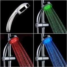 Put a little color in the shower with this temperature controlled color LED tap sensor. The colors change automatically with the water temperature. This shower head fits onto most shower hoses and lights up a set of LEDs when you turn on the tap transforming the stream of water into a beautiful waterfall of light.A temperature sensor within the unit can tell whether the water is cold or hot, and changes the color of the light accordingly. This is a great gadget just for the neat color effect…