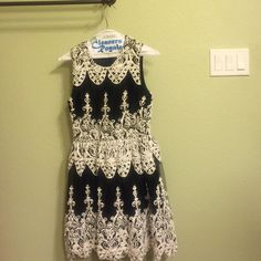 Black & White embroidered dress. Lace like detail. Very classy dress Ark & Co Dresses Wedding
