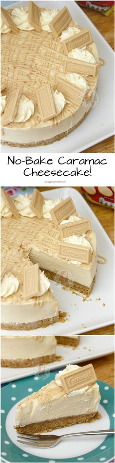 No-Bake Caramac Cheesecake! ❤️ An Easy, Delicious, Caramelly and Chocolatey … No-Bake Caramac Cheesecake! ❤️ An Easy, Delicious, Caramelly and Chocolatey Cheesecake – a Caramac Filling with a Buttery Biscuit Base and delicious decorations! No Bake Desserts, Just Desserts, Delicious Desserts, Yummy Food, Baking Desserts, Baking Recipes, Cake Recipes, Dessert Recipes, Caramac Cheesecake
