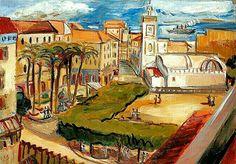 Algérie - Peintre Tchèque, Oskar Spielmann (1901-1973), Huile sur Carton,Titre : Vue de la place du gouvernement à Alger ( Place des martyres)
