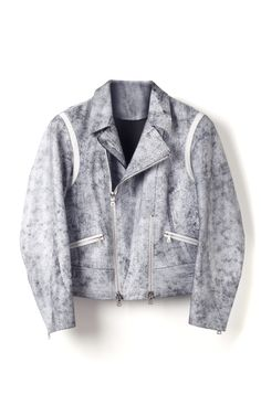 White Cracked Leather Cropped Motorcycle Jacket by 3.1 Phillip Lim for Preorder on Moda Operandi