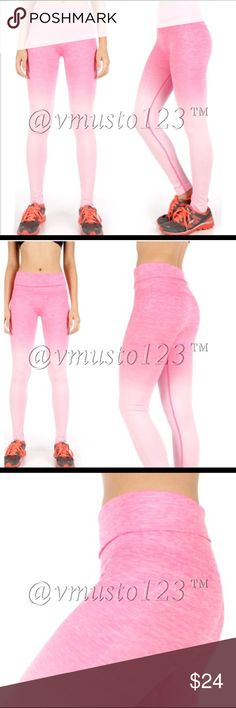 PINK OMBRÉ FOLD OVER WAIST YOGA PANTS Work out in style with these stretchy comfortable luxury ombré pink yoga pants. Reinforced stitching for leg and tummy control. large fits 10-12 and XL fits 14-16. Price firm. Very well made and high quality. Control how high you want the waist with the fold over band! Or leave the band up for mega high waisted tummy control! 63% nylon, 29% poly, 5% spandex. Amazing leg control, reinforced stitching and not see through at all! ValMarie Boutique Pants…