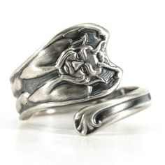 Gargoyle Ring Tiny Ring Sterling Silver Spoon Ring by Spoonier