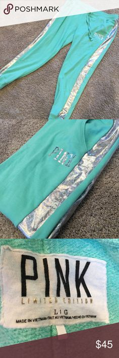 Shiny holographic Pink mint green sweatpants From Pink! Worn a few times, good condition. Front pockets and fuzzy interior. LIMITED EDITION!! PINK Victoria's Secret Pants