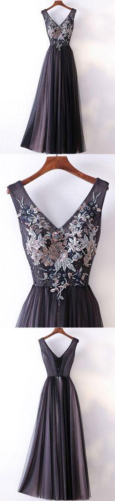 Long Prom Dresses Straps V-neck A-line Embroidery Sexy Black Prom Dress JKL538