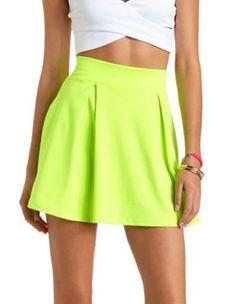 neon pleated high-waisted skater skirt Charlotte russet $18