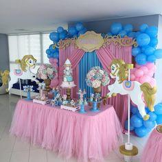 No photo description available. Carousel Themed Birthday, Carousel Party, Carnival Birthday, Birthday Party Themes, Girl Birthday, Horse Party Decorations, Balloon Decorations, Baby Shower Decorations, Horse Balloons