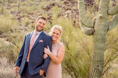 Gorgeous photos of this bride and groom after their wedding ceremony at the Cave Creek Chapel.