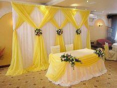 Desi Wedding Decor, Wedding Stage Decorations, Backdrop Decorations, Wedding Table, Backdrop Ideas, Wedding Backdrops, Yellow Party Decorations, Reception Backdrop, Wedding Centerpieces