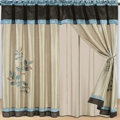 3 Piece Curtain Set 2 Curtains 60 W X 84 L 18 Valance Blue Dining Room