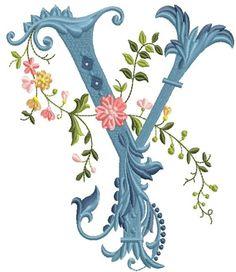alfabeto celeste con flores Y
