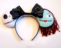 Jack and Sally Inspired Custom Mickey Ears/ Minnie Mouse Headband (Nightmare Before Christmas) on Etsy. https://www.etsy.com/listing/211435717/jack-and-sally-inspired-custom-mickey?ref=sr_gallery_6&ga_search_query=mickey+ears+headband&ga_search_type=all&ga_view_type=gallery