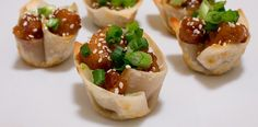 Sesame Chicken Wonton Cups. Restaurant style Chinese food in a bite size cup!