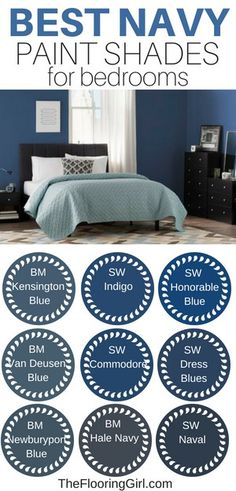 The 5 Best Paint Colors For Bedrooms, Home Decor, Best navy paint shades for bedrooms. These colors are stylish and help lead to a better night's sleep. Trendy Bedroom, Cozy Bedroom, Home Decor Bedroom, Bedroom Ideas, Master Bedroom, Dream Bedroom, Master Bath, Best Paint Colors, Bedroom Paint Colors