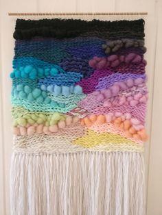 Large weave Woven wall hanging Rainbow Weaving wall art