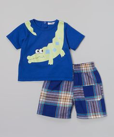 Look at this #zulilyfind! Rumble Tumble Blue Alligator Tee & Plaid Shorts - Infant, Toddler & Boys by Rumble Tumble #zulilyfinds