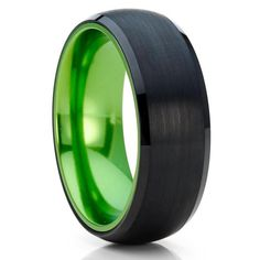 Green Tungsten Wedding Bands | Green Tungsten Wedding Rings – Clean Casting Jewelry Black Tungsten Rings, Tungsten Wedding Rings, Engraving Fonts, Laser Engraving, Tool Steel, Green Wedding, Black Enamel, Beautiful Rings, Wedding Bands