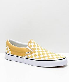 72a2a48bc3b Vans Slip-On Ochre  amp  White Checkerboard Skate Shoes Vans Damier