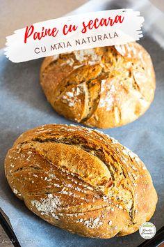 Pâine cu făină de secară și semințe dospită cu maia naturală. O pâine 100% naturală și sănătoasă, cu coajă rumenă și crocantă și miez dens. Cum se dospește aluatul cu maia naturală, ce semințe folosim la pâine, câtă făină de secară se folosește, cum se coace pâinea cu maia. #retetesimple #reteteculinare #retetesanatoase #reteterapide #bucatearomate #reteteromanesti #paine #painedecasa #painecumaia #maianaturala #maiasalbatica #sourdough #levain Hamburger, Gluten, Bread, Food, Home, Brot, Essen, Baking, Burgers