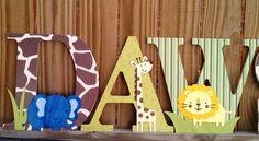 Customized, Personalized, Custom, Decorative wood letters, safari, jungle, letter, Children's Decor, Nursery, m2m any room or bedding. $10.00, via Etsy.