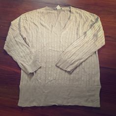 J. Crew sweater size M This is a 3/4 sleeve J. Crew sweater in an oatmeal color. It's 100% linen and cable knit pattern. In great condition! Make me an offer & ask questions if you have any! J. Crew Sweaters