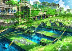 Artwork of an overgrown ruins of Shinjuku Station. ©TOKYO_GENSO