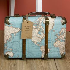 Around the World Vintage Map Suitcase ($48) ❤ liked on Polyvore featuring bags and luggage