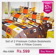 set of 2 premium cotton bedsheets with 4 pillow covers